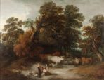 Wooded Landscape with a Milkmaid, Rustic Lovers, and a Herdsman